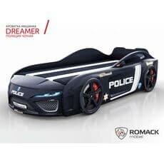 Детская кровать машина Romack Dreamer 2018 Полиция черная (Ромак Дример)