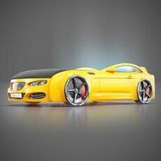 Детская кровать машина Romack Mebel Real-M BMW X5 желтая
