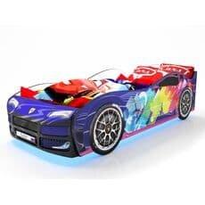 Кровать машина Карлсон Турбо Синяя 2 с подъемным механизмом